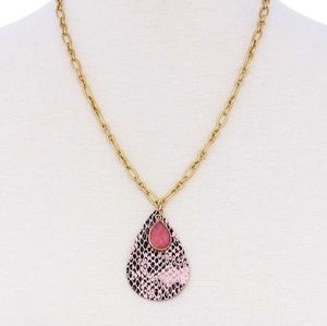 Pink Dangle Row Gold Chain Teardrop Necklace NEW